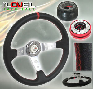 92 95 Civic Eg Red Stitching Steering Wheel Red Short Quick Release adapter Hub