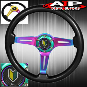 345mm Performance Drift Luxury Young Leaf Button Steering Wheel Black Neo chrome