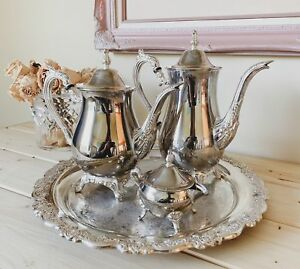 Antique Tea Set Vintage Silver Tray Coffee Server
