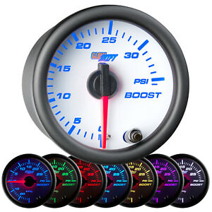 52mm Glowshift White 7 Color 35 Psi Turbo Mechanical Boost Gauge W White Face