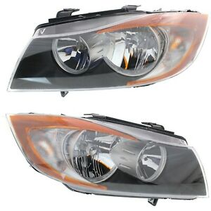 Halogen Headlight Set For 2007 2008 Bmw 328i Left Right W Bulb s Pair Capa