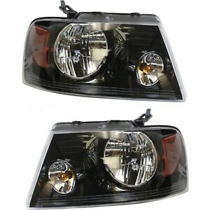 Headlight Set For 2006 2008 Ford F 150 Left And Right Black Housing Capa 2pc