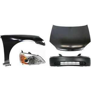Bumper Cover Kit For 2001 03 Honda Civic With Bumper Cover Fender Hood 4pc