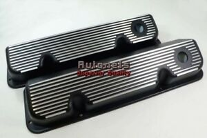 Ford Racing 351c 400m Cleveland Black Fin Aluminum Valve Covers Mustang Rat Rod