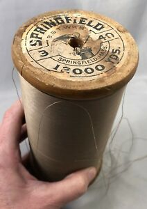 Vintage 6 1 2 Inch Thread Spool Springfield Mass Industrial Sewing Antique Orgnl