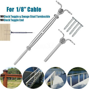 60pcs Deck Toggle T316 Stainless Steel Tensioner Set For 1 8 Cable Railing New
