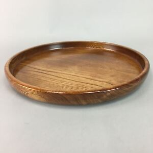 Japanese Lacquer Ware Wooden Tray Vtg Obon Natural Grain Round Brown Lw942