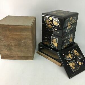Antique Japanese Lacquer Ware Bento Lunch Box Wooden Jubako Meiji 1900 Jb41