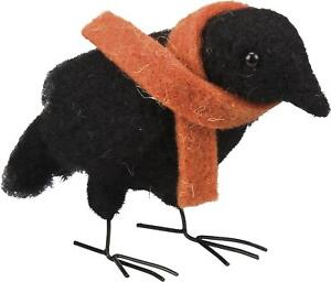 Primitive Country Folk Art Crow Jude Felted Wool Crow With Scarf