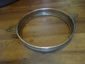 Large Round Footed Silverplate Marked Casserole Serving Tray 10 Silverplated