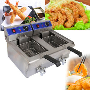 Commercial Electric 20l Deep Fryer And Drain Stainless Steel French Fry Meat
