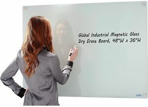 Whiteboard Magnetic Glass Dry Erase Frameless Whiteboard Long Lasting 48 X 36