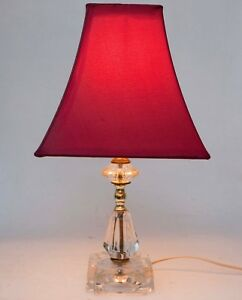 Antique Solid Crystal Lamp Cut Crystal Mantle Boudoir Lamp C 1930 Shade