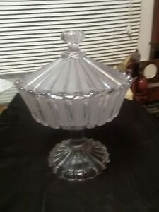 Crystal Compote Lidded Candy Dish Etched Footed Excellent Condition