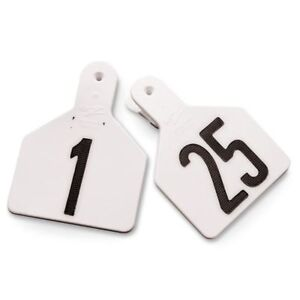 Y tex 4 Star Large Cattle Ear Tags White Numbered 1 25
