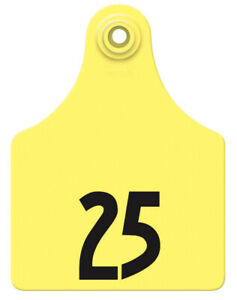 Allflex Global Maxi Numbered Cattle Ear Tags Yellow 51 75