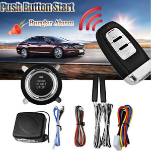 Car Keyless Entry Engine Start Push Button Remote Starter Vibration Alarm System
