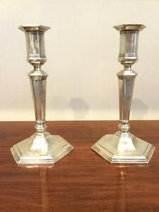 Art Deco Pair Of Tiffany Co Sterling Silver Candlesticks Hexagon Shaped