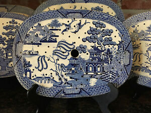 Antique English Meat Platter Drainer Blue Willow Transferware Oval Plateau 3
