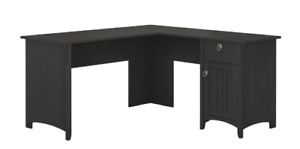 Bush Furniture L Shaped Desk Storage Vintage Black Table Office Home Computer