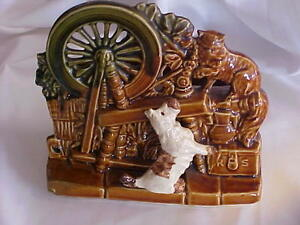 Mccoy Pottery Cat Scottie Dog Spinning Wheel Double Planter Multi Colors