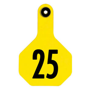 Y tex 3 Star Medium Cattle Ear Tag Yellow Numbered 176 200