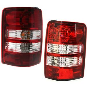 Halogen Tail Light Set For 2008 2012 Jeep Liberty Clear Red Lens W Bulbs 2pcs