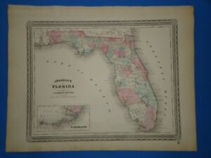 Vintage 1873 Florida Map Old Antique Original Johnson S Map