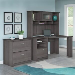 Cabot Corner Desk With Hutch And Lateral File Cabinet
