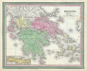 1854 Mitchell Map Of Greece