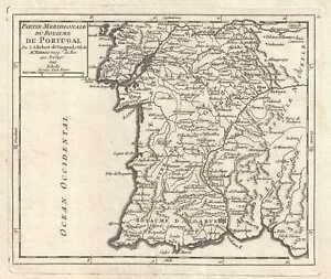 1749 Vaugondy Map Of Southern Portugal