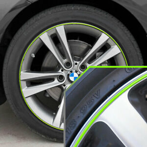 Wheel Bands Neon Green In Silver Pinstripe Rim Edge Trim For Bmw I3 Full Kit