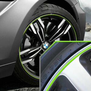 Wheel Bands Neon Green In Silver Pinstripe Rim Edge Trim For Bmw M6 Full Kit