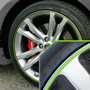 Wheel Bands Neon Green Silver Pinstripe Rim Trim For Hyundai Accent Full Kit