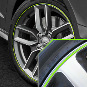 Wheel Bands Neon Green In Silver Pinstripe Rim Edge Trim For Audi A4 Full Kit