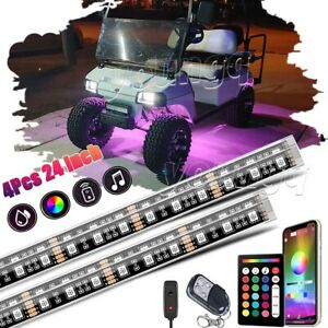 4x 24 Led Golf Cart Lighting Under Glow Neon Lights Kit For Caddy Club Car Ezgo