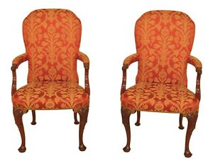 30373ec Pair Kindel Upholstered 84 075 Mahogany Arm Chairs