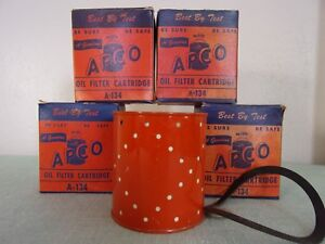 4 Vintage Apco Oil Filter Cartridge A 134 In Box Fits Purlator P 700 New Old