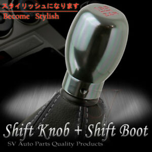 99 07 Chevy Corvette Manual Gunmetal 5 Speed Blk Stitch Leather Shift Boot Cover