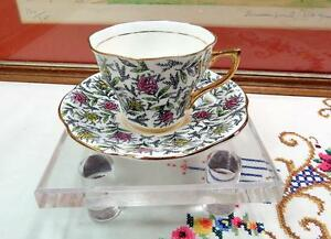 Vintage Rosina 5358 Pink Yellow Floral Chintz 2 1 2 Footed Cup Saucer Set