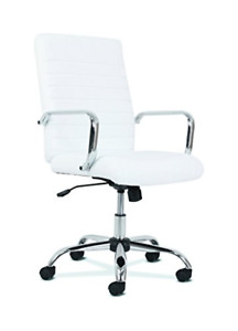 Sadie Executive Computer Chair Fixed Arm For Office Desk White Leather With