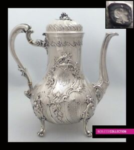 Amazing Antique 1880s French Full Sterling Silver Coffee Tea Pot Rococo St 752g