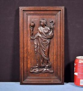 French Antique Deep Carved Architectural Panel Door Solid Oak Wood Woman