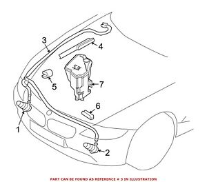 For Bmw Genuine Headlight Washer Hose Front 61677196365