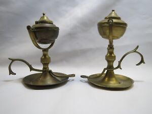 Pair Of Antique Brass Gimbaled Oil Lamps