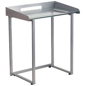 Desk With Clear Tempered Glass Chrome Finish