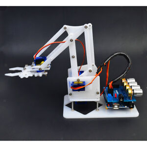 New Diy 4 dof Robot Arm 4 Servos Plastic Gear Kits For Arduino Science Toy