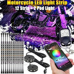 14 Motorcycle Led Strip Lights Kit Neon Glow With Bluetooth Control Music Active