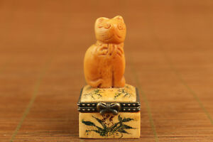 Unique Japanese Old Carved Cat Box Statue Netsuke