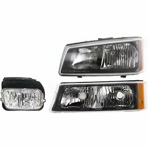 Headlight Kit For 2003 2004 Chevrolet Silverado 1500 Silverado 3500 Left 3pc